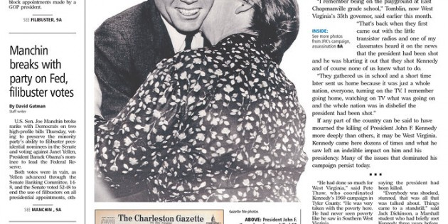Charleston Gazette's JFK page among those highlighted by Poynter