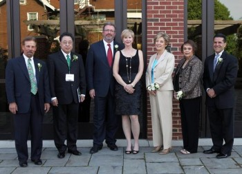 Herald-Dispatch photo by Lori Wolfe The College of Business 2014 induction ceremony was held on Monday, May 5, at Marshall University. Pictured from left are Monty Ward of Cabell Huntington Hospital, Haiyang Chen, dean of the Marshall College of Business, inductee James Smith and his wife, Pam Smith, Louetta Jimison and Wilsie Hale, sisters of inductee, Ben Hale, and Norman Mosrie, president of the Marshall College of Business. The Hall of Fame inductees are John C. Burris, Ben W. Hale Jr., Brent Marsteller and James C. Smith.
