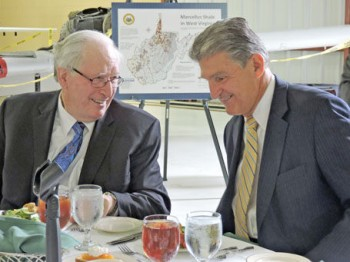 Times West Virginian photo by Angelee Wiley U.S. Sen. Jay Rockefeller (left) and U.S. Sen. Joe Manchin welcomed 46 business executives from Japan to Bridgeport on Monday as a way of continuing the partnership between West Virginia and Japan.
