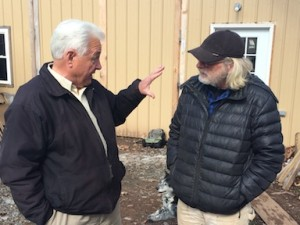 "Dry Fork Maple Works' John Dalen, right, and Agriculture commissioner Walk Helmick discuss the maple syrup industry.  Helmick calls the syrup industry a ""wonderful, wonderful opportunity"" for the state of West Virginia."