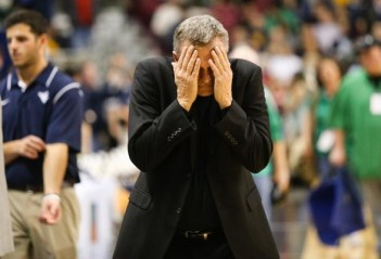 Herald-Dispatch photo by Sholten Singer Marshall head coach Dan D'Antoni gestures as the Herd bench is warned before halftime against West Virginia in the Capital Classic Sunday, Dec. 14, 2014, at the Charleston Civic Center in Charleston, W.Va. West Virginia defeated the Herd 69-66.
