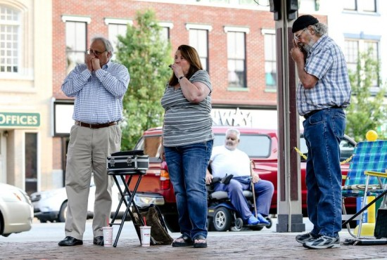 """Herald-Dispatch photo by Sholten Singer The Harmonica Club of Huntington conducts its second """"Night on the Town"""" of the summer on Tuesday, June 9, 2015, at Pullman Square in downtown Huntington."""
