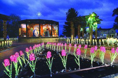 the lights are on at oglebay park including at the flower garden which welcomes visitors - Oglebay Park Christmas Lights