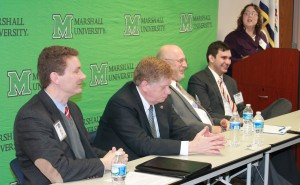 Journalists from across West Virginia hear opinions on the state of West Virginia from a panel at today's 2016 West Virginia AP legislative Lookahead, held at the Marshall University's South Charleston Campus. Participating in the first panel were John Deskins, director of the WVU Bureau of Economic Research; Sen. Bob Beach, D-Monongalia; Sen. Craig Blair, R-Beckeley; Sen Chris Walters, R-Putnam; and moderator Heather Henline, publisher of the The Inter-Mountain newspaper in Elkins. West Virginia Press Association Photo - Don Smith.