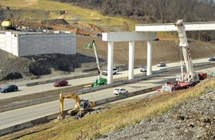 Beams placed for I-79 interchange in Morgantown