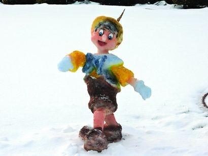 No lie — this Pinnochio made of snow