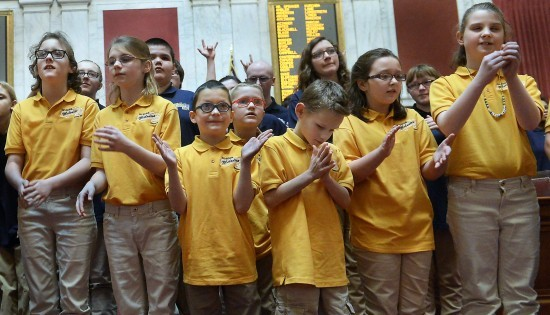 Students from deaf, blind school sing at Capitol