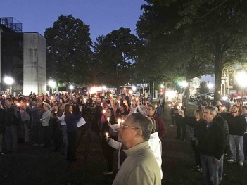 Parkersburg News and Sentinel photo by Brett Kline Close to 400 people gathered at Ripley for the candlelight vigil that honored Emmaleigh Barringer, the 10-month-old baby who passed away.