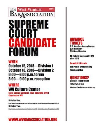 W Va  Supreme Court candidate forums set for Charleston next week