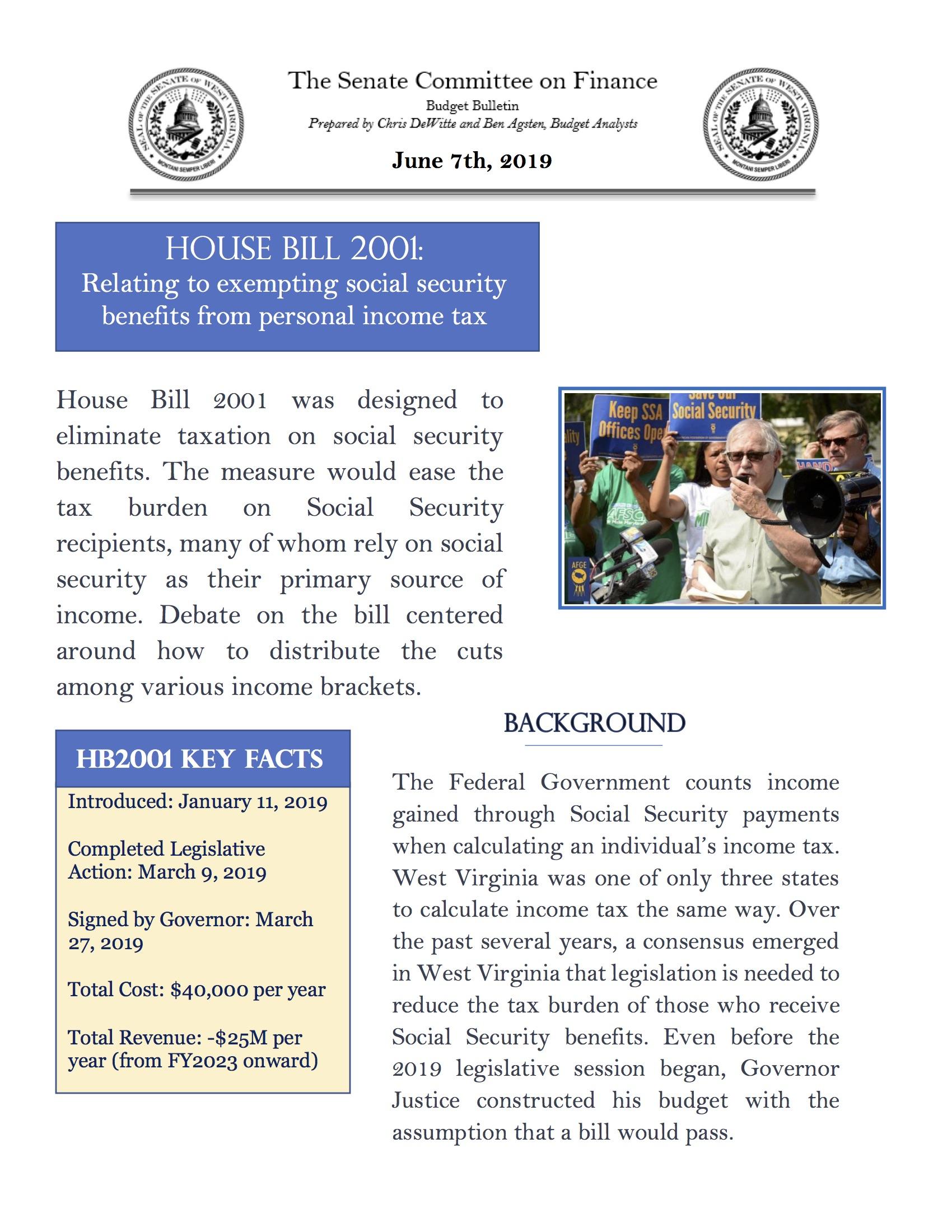 W Va  Senate's Finance Committee Budget Bulletin: Exempting